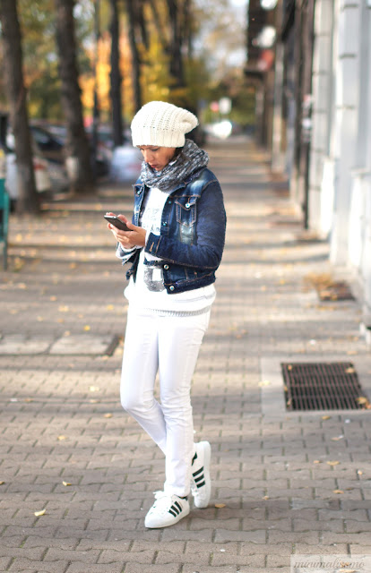 adidas, white jeans, jacket, glam, superstar