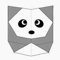 Bước 9: Vẽ mắt, vẽ mũi để hoàn thành cách xếp con gấu trúc Panda bằng giấy origami đơn giản.
