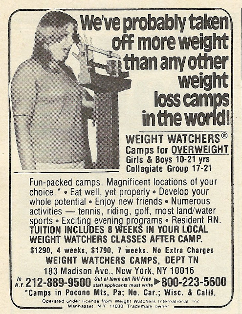 Old Ads Are Funny: 1978 ad: Weight Watchers Camps for ...