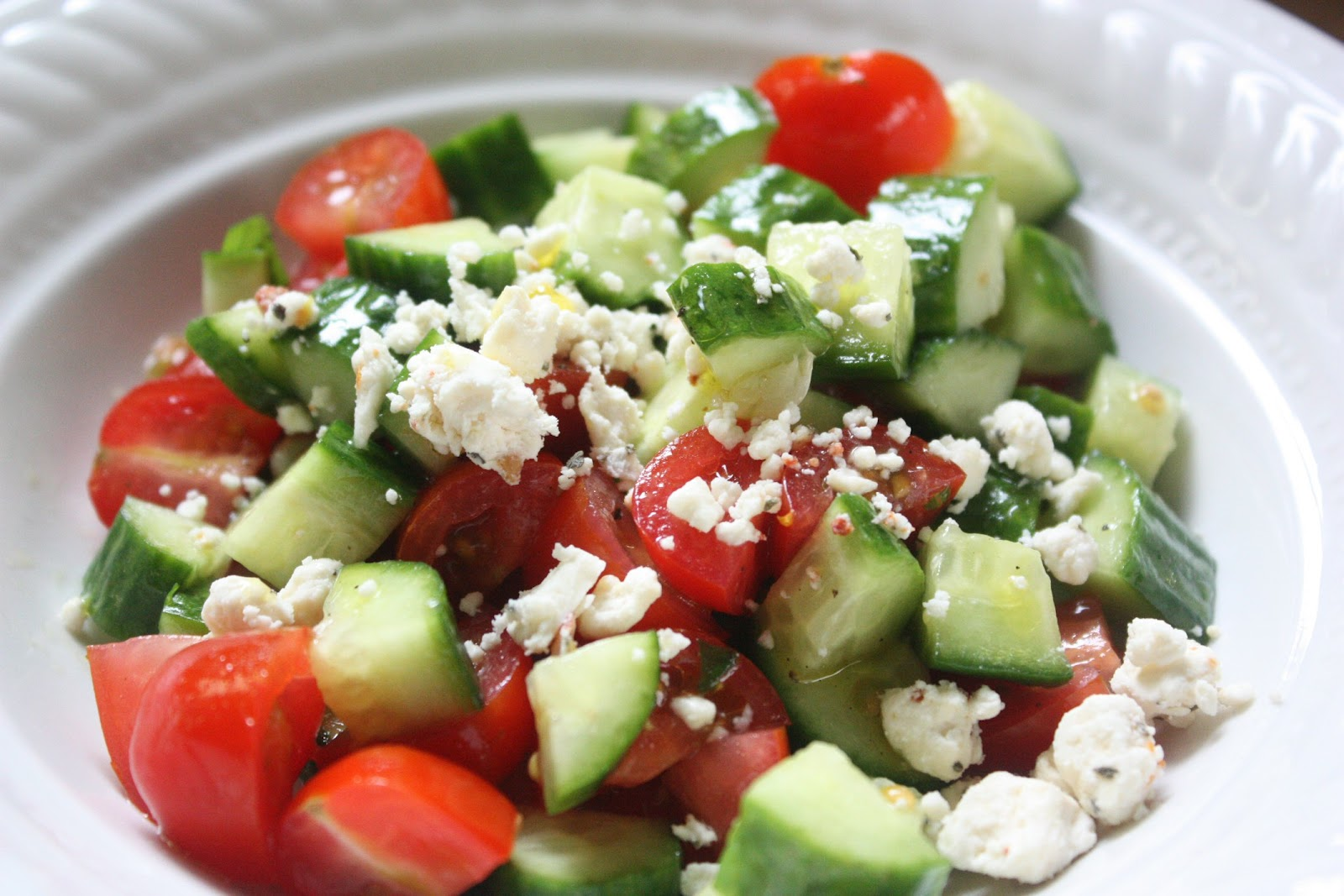 salad chopped tomato and cucumber salad recipe with mint feta lemon ...