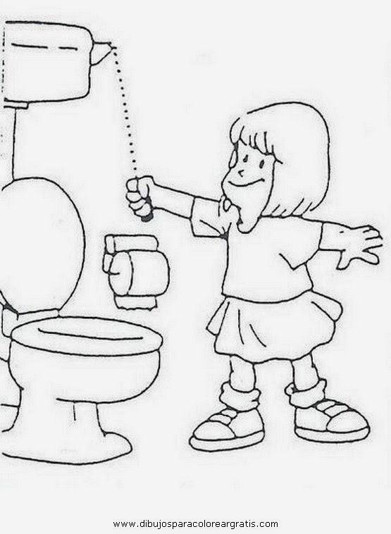 Baños Infantiles Para Colorear:Jardin Escolar: Hábitos de higiene – Dibujos para colorear