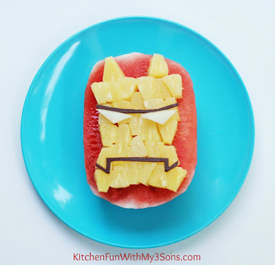 Easy IRON MAN Watermelon Fruit Snack & The Avengers Party from KitchenFunWithMy3Sons.com
