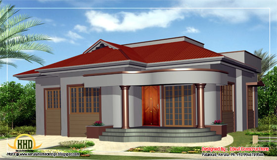 Beautiful single story home design - 1100 Sq. Ft. (102 Sq. M.) (122 Square Yards)-  March 2012