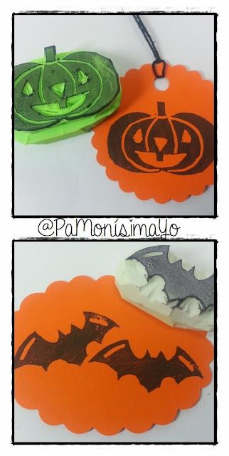 Sellos carvados a mano halloween calabaza y murciélago @pamonisimayo