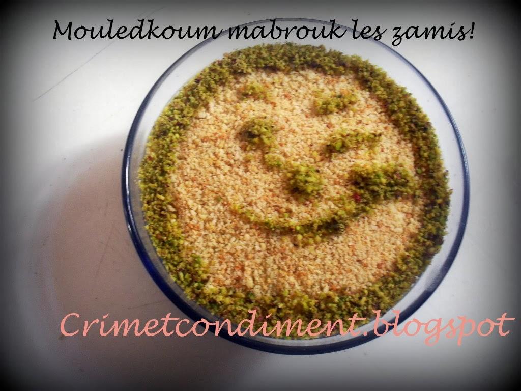 Crimetcondiment mouledkoum mabrouk avec trois recettes et for Recette assida zgougou