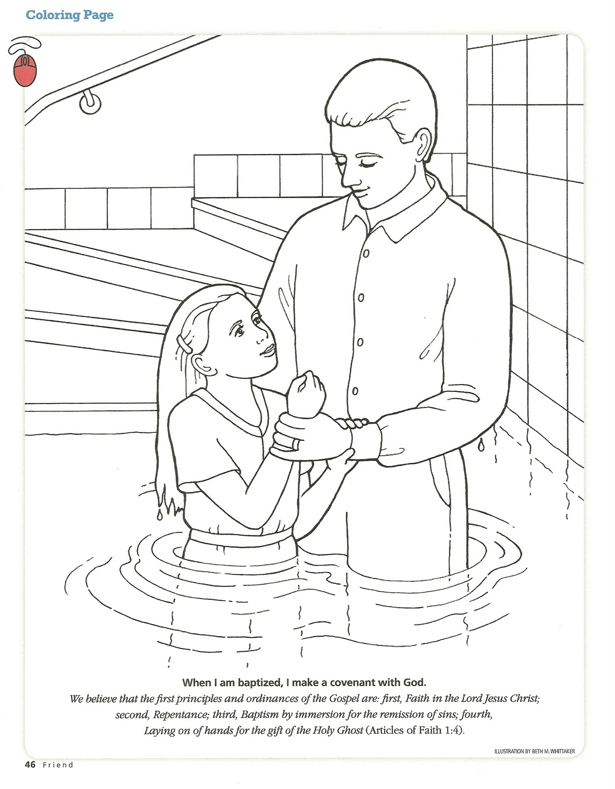 Free coloring page jesus baptism