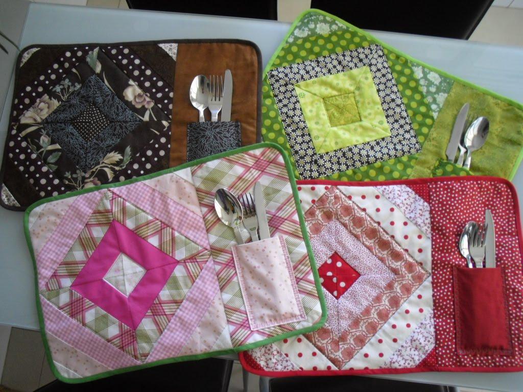 Jana patchwork y punto de cruz manteles individuales for Manteles individuales de tela