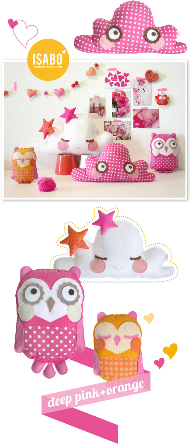 isabo-cushion-owl-cloud-pink-orange-handmade-gufo-cuscino-nuvola