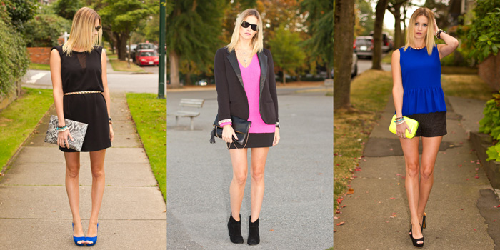 Vancouver Fashion Blogger wearing Black Zara Dress, Kookai Studded Belt, Zara Blue Shoes, H&M Snakeskin Clutch, Urban Outfitter Boyfriend Blazer, Zara Neon Pink Knit, Urban Outfitters Bodycon Skirt, Booties, Zara Blue Peplum Top, Zara Black Shorts, Neon Clutch, Platform Heels