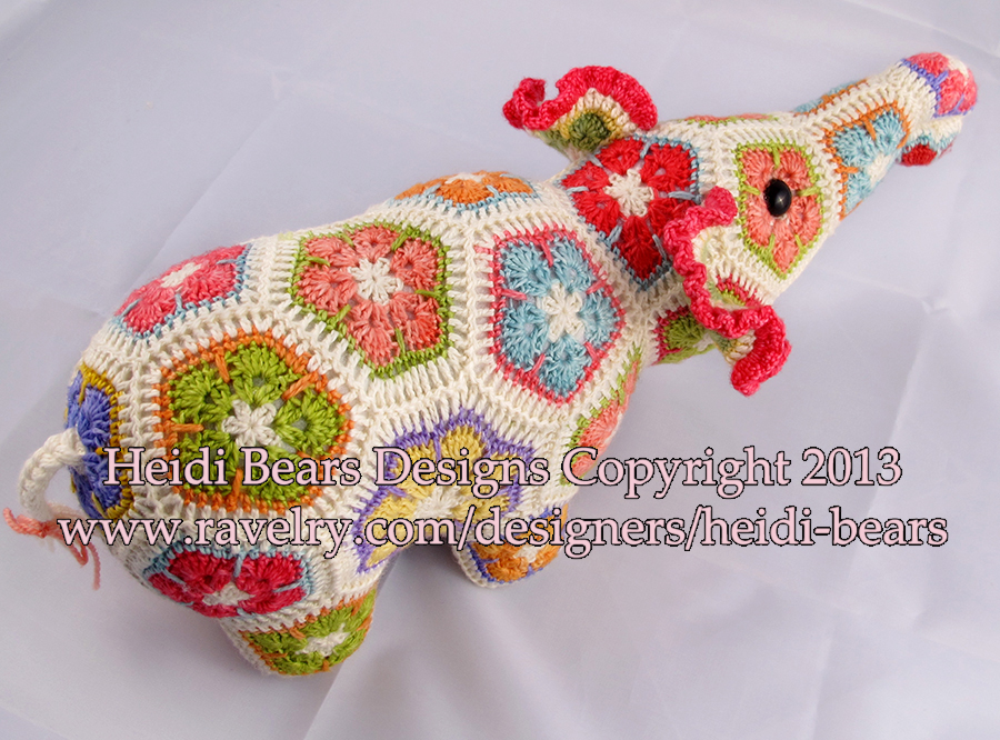 Heidi Bears Nellie The Elephant African Flower Crochet Pattern