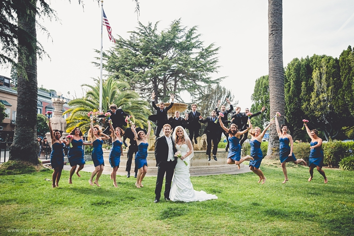 """""""wedding party jumping near fountain in sausalito"""""""