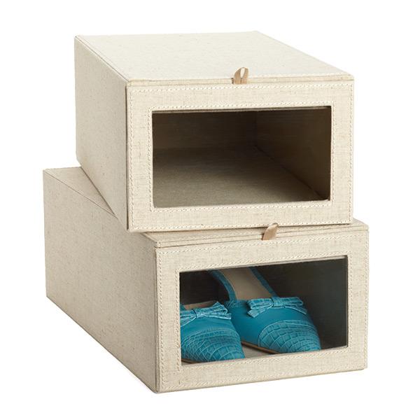 Container Store Linen Shoe Box
