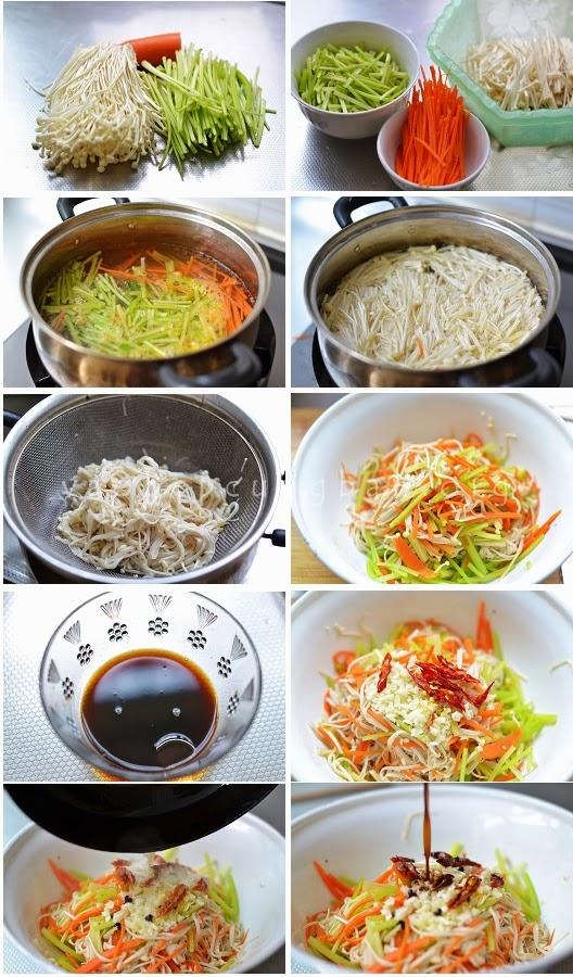 Salad nấm kim châm, cà rốt và cần tây giòn 1