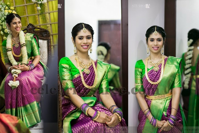 Bride in Purple Green Silk Saree