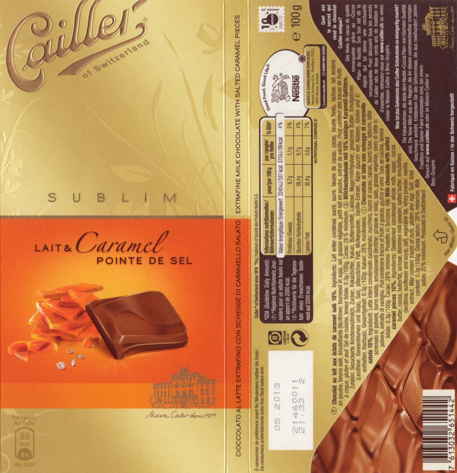 movieschocolatebooks: Salted Caramel Milk Chocolate by Cailler