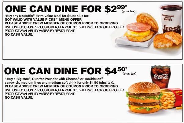 Mcdonald's menu coupons