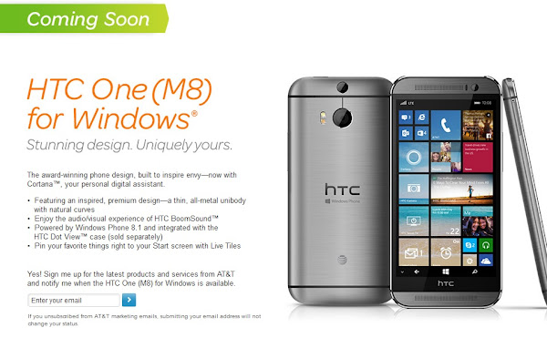 HTC One M8 for Windows coming soon to AT&T