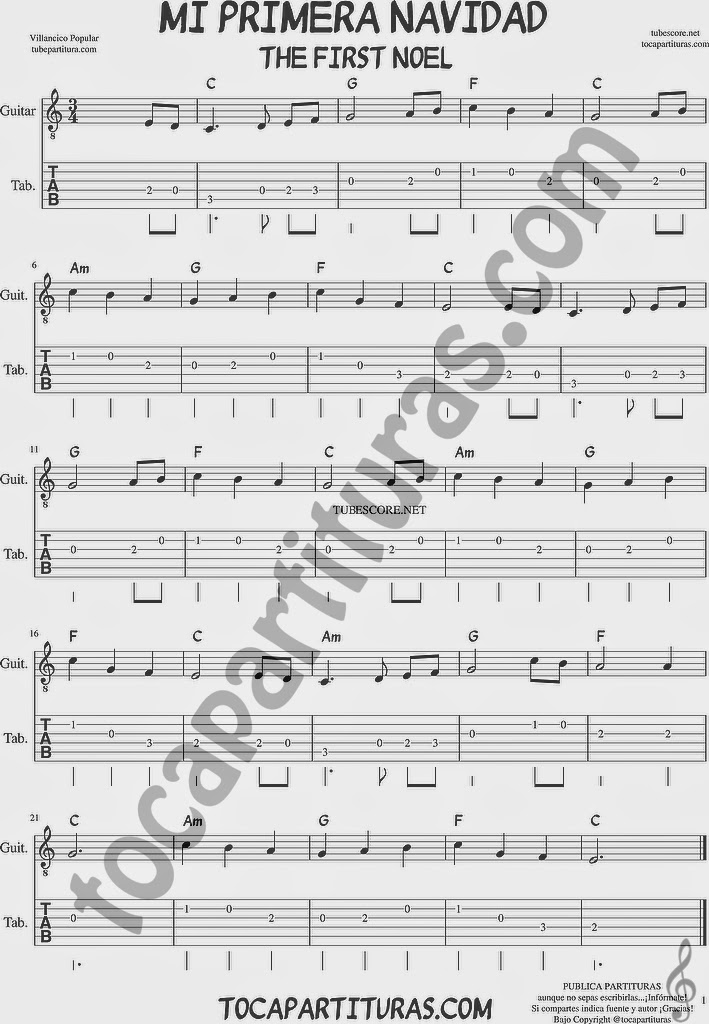 Tubepartitura La Primera Navidad Tablatura de Guitarra The First Noel Villancico de Navidad