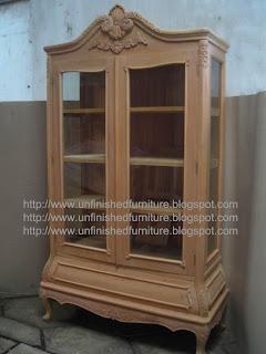 Supplier Lemari hias ukir jepara supplier almari pajangan klasik jepara almari kaca mentah unfinished ukir