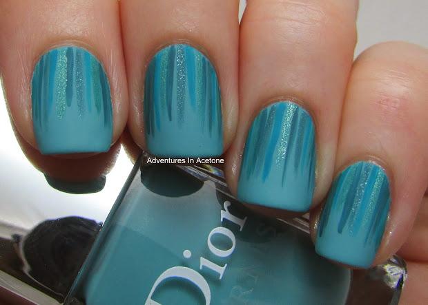 turquoise waterfall nail art