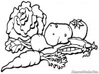 Lembar Mewarnai Gambar Sayuran