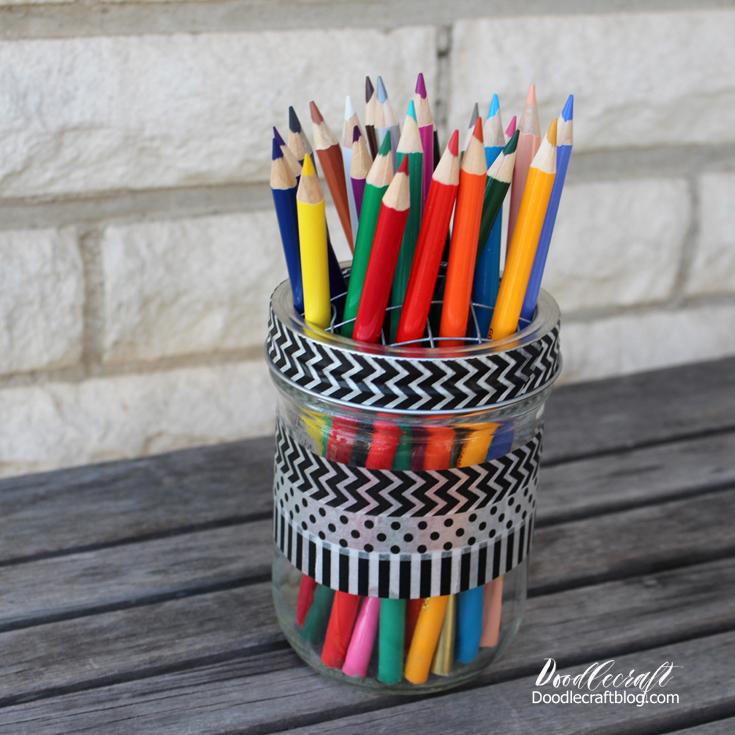 Coloring Book Organizer : Doodlecraft: diy mason jar desk organizer