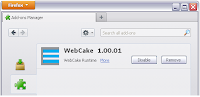 WebCake appears as a Firefox Add-on. WebCake can be removed manually from the add-on tab.