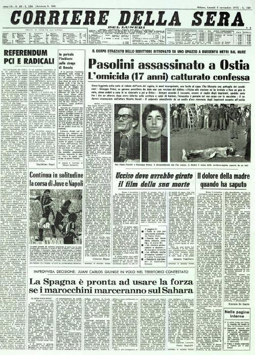 Corriere della sera 3 novembre 1975 il corpo for Corriere della sera arredamento