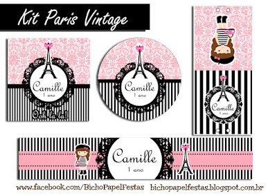 Kit Paris preto rosa vintage