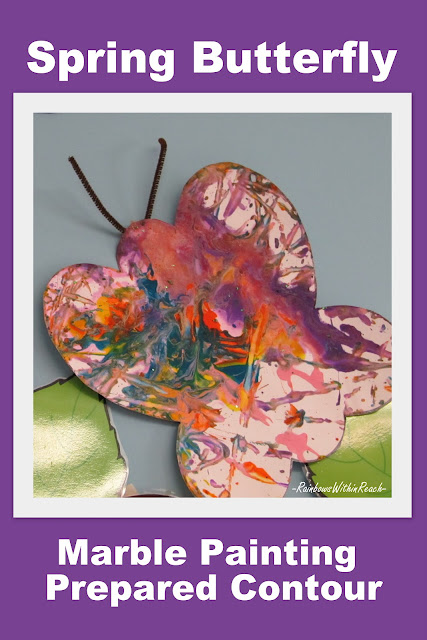photo of: spring marble painting of butterfly, spring bulletin board, preschool