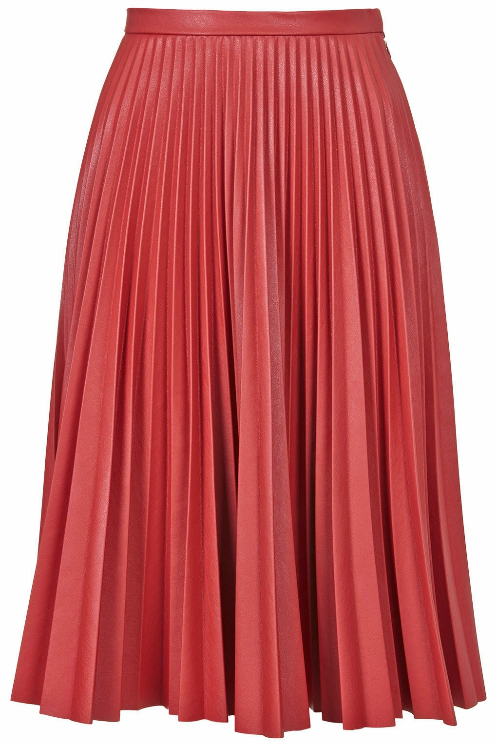 red pleated leather skirt