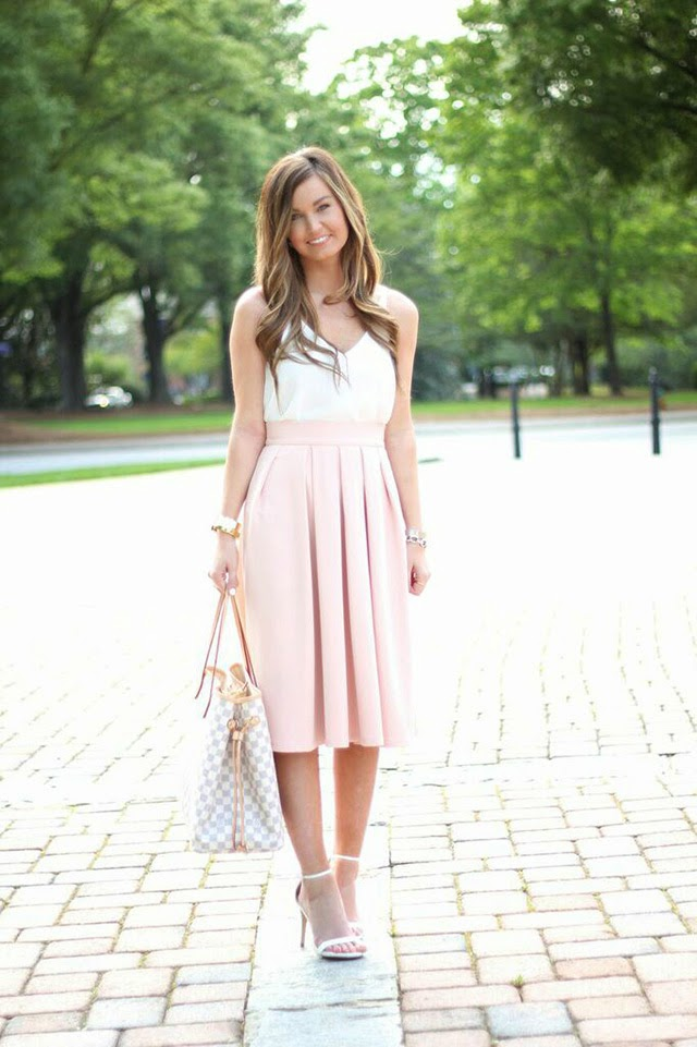 For All Things Lovely: Blush Midi Skirt   White Camisole