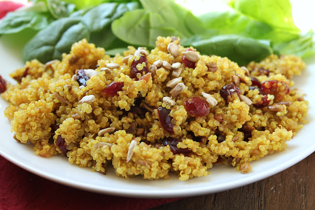quinoa with cranberries, curry powder and sunflower nuts
