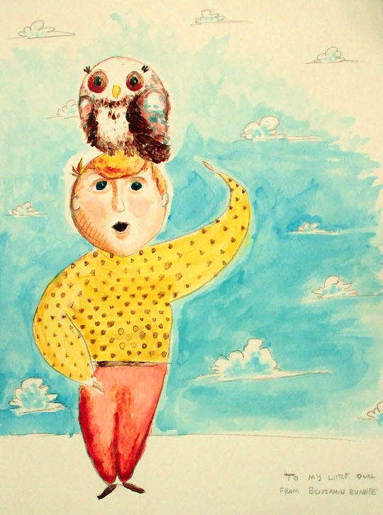 Watercolor painting of an owl on a man's head