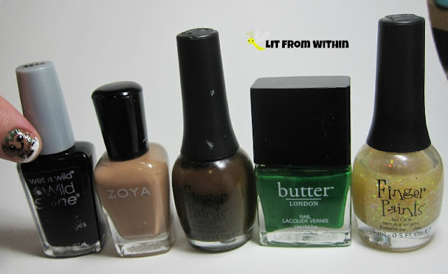 Bottle shot:  Wet 'n Wild Black Creme, Zoya Flynn, Finger Paints Sketchy Character, Butter London Sozzled, and Finger Paints Twisted.
