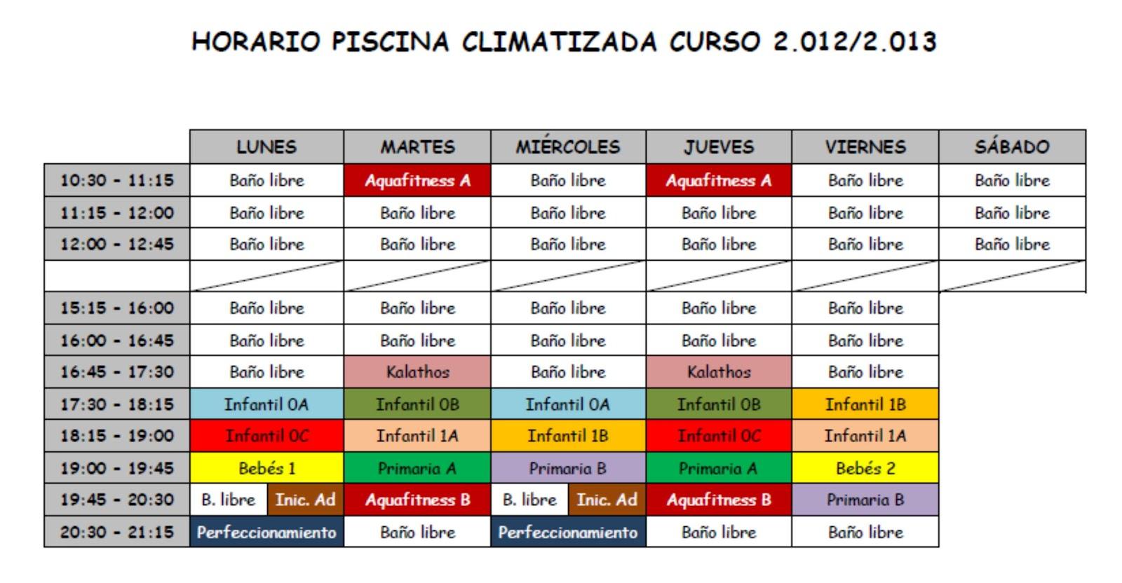 Deporte en alcorisa horarios de la piscina climatizada for Horario piscina alaquas