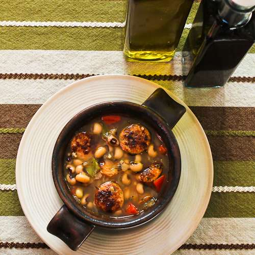 Black-Eyed Soup with Chicken-Garlic Sausage and Bell Peppers