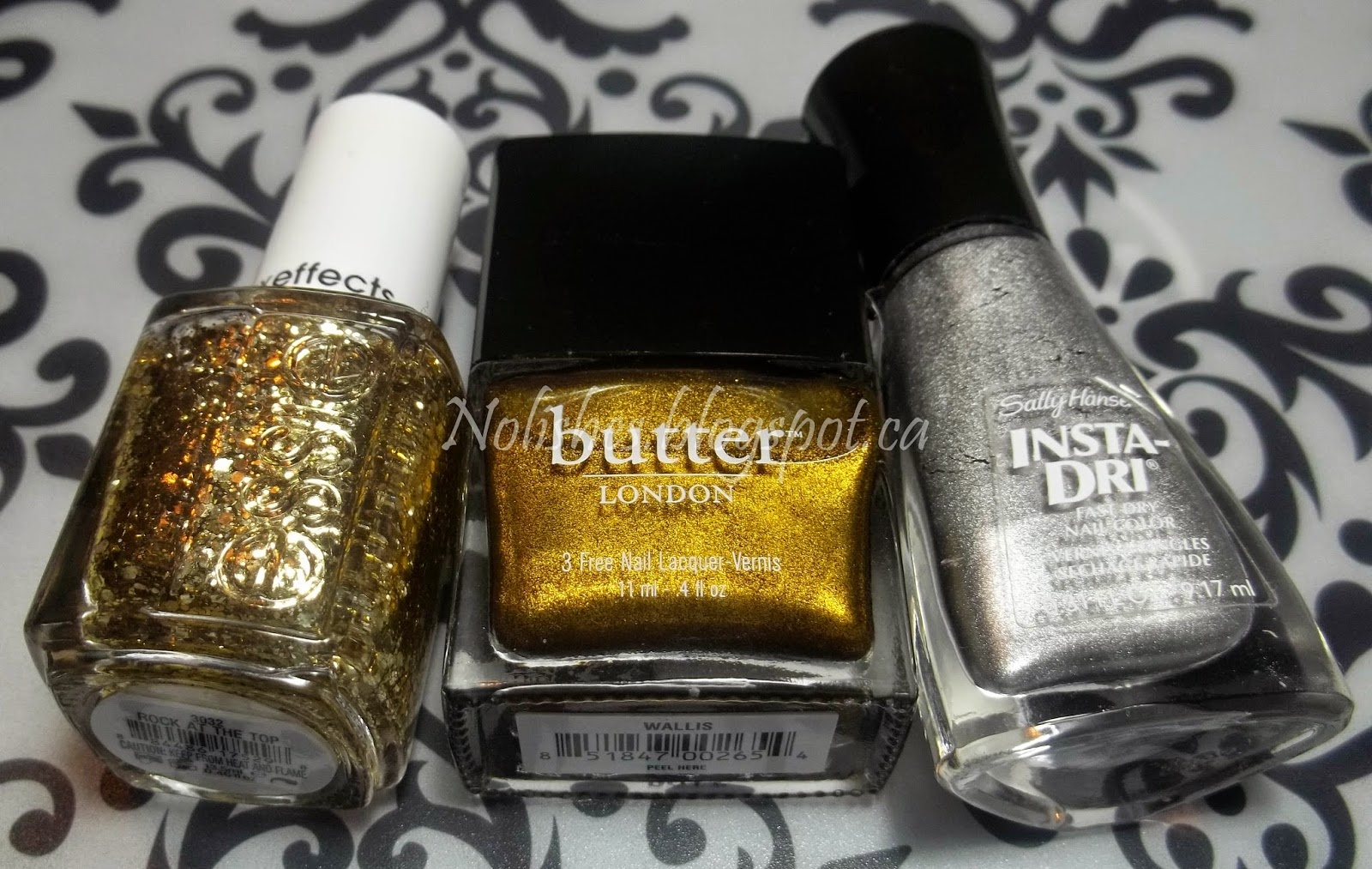 Butter London 'Wallis', Sally Hansen 'Silver Sweep', and Essie 'Rock at the Top