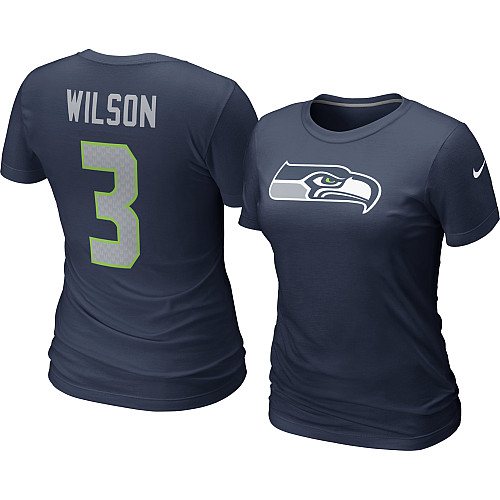 Womens nike seattle seahawks russell wilson game team for Russell wilson womens t shirt