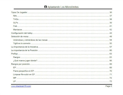 Aplastando los Microlímites table of contents 2