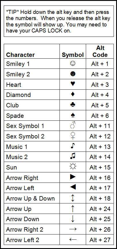 Heart Symbol Alt Gallery Meaning Of Text Symbols