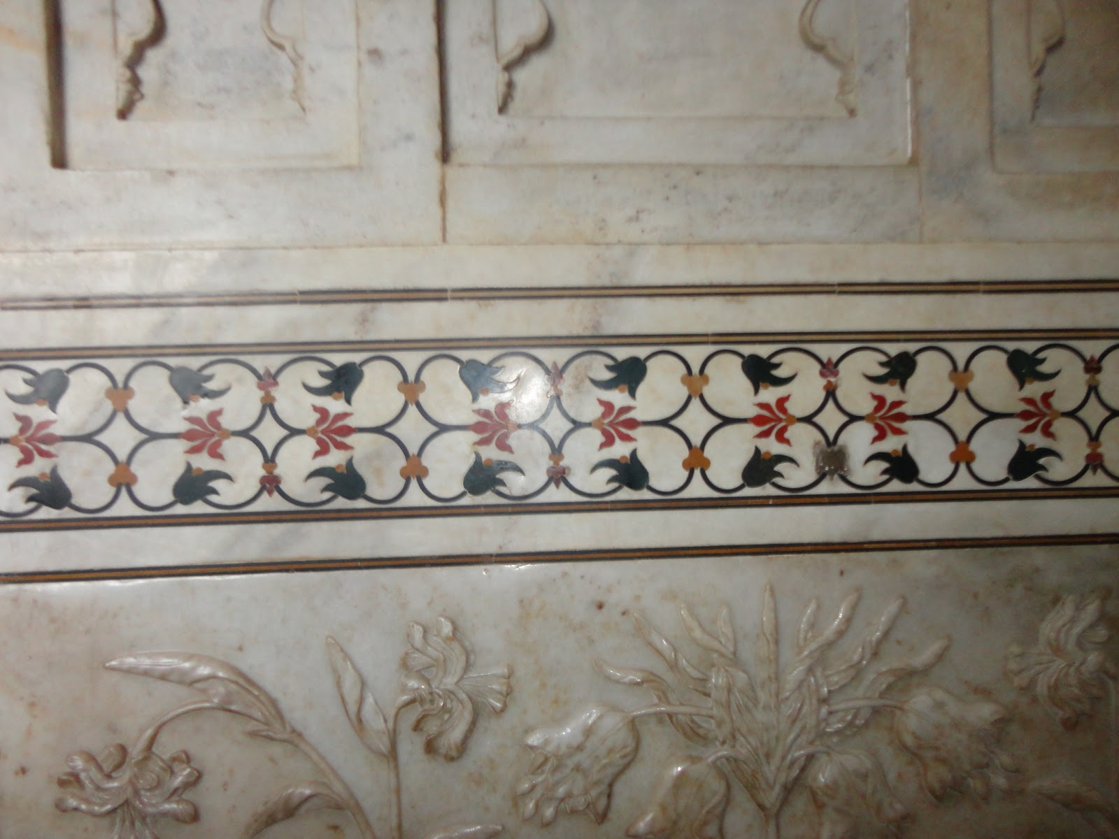 Semi-Precious stones inlaid into marble at The Taj Mahal