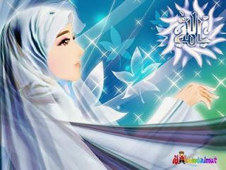 Akhwat jilbab biru (desainkawanimut)