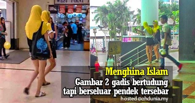 Menghina Islam: 2 gadis pakai tudung tetapi berseluar pendek di Sibu
