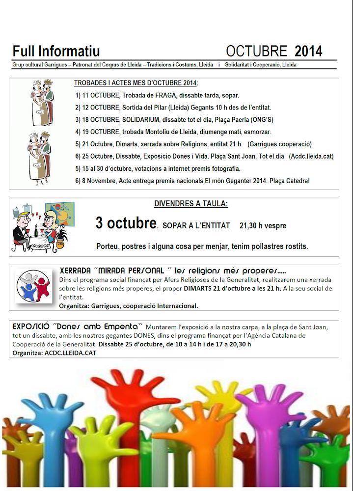 FULL INFORMATIU OCTUBRE 2014