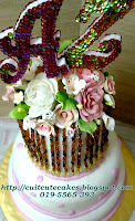 English 3 tiers stack wedding cake with beads