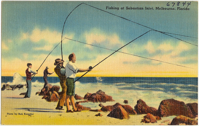Fishing Vintage Posctcard Melbourne Florida