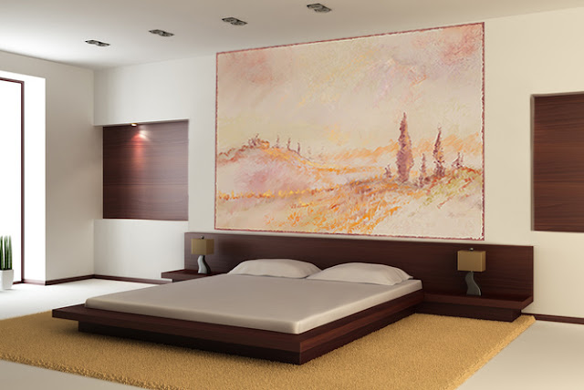 poster papier peint impressionniste beige