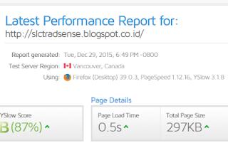 Pageload time SL CTR Adsense 0,5 detik saja. Super cepat