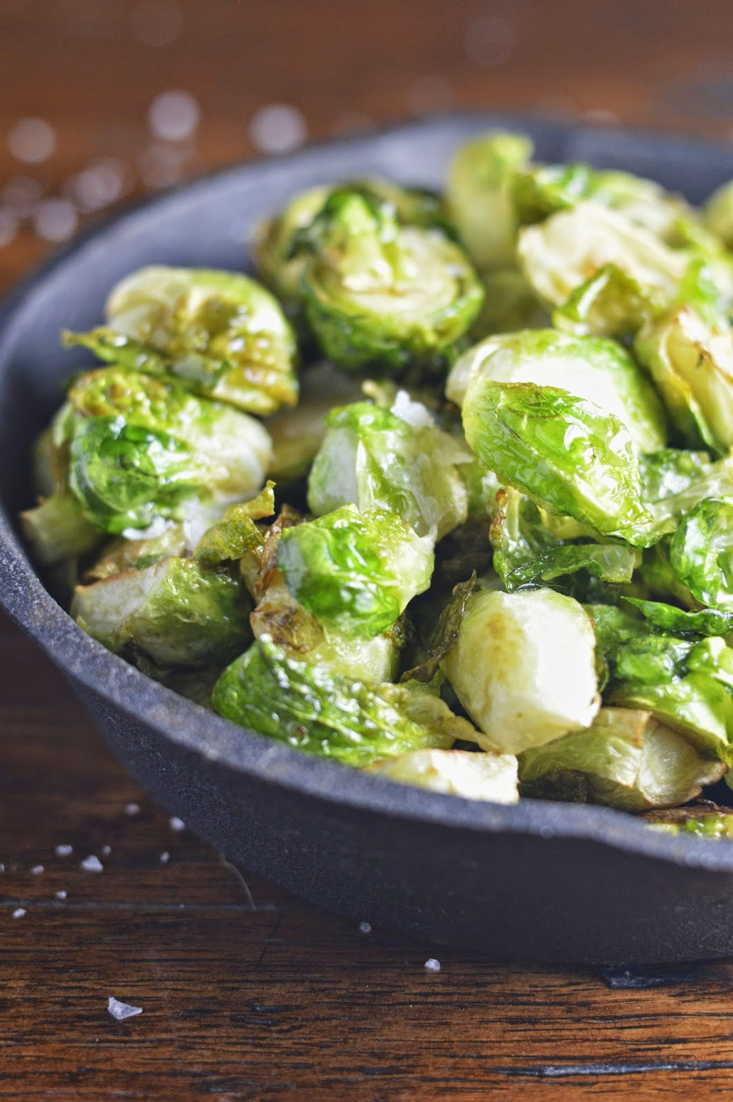 Brussels sprouts are flashed fried and topped with chunky sea salt